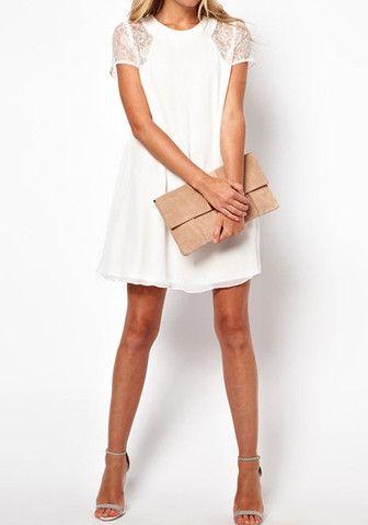Lace Chiffon Dress - White - Gorgeous Partially Lined Short Dress