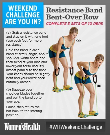 #WHWeekendChallenge Resistance Band Bent-Over Row. Give the dumbbells and barbells a break
