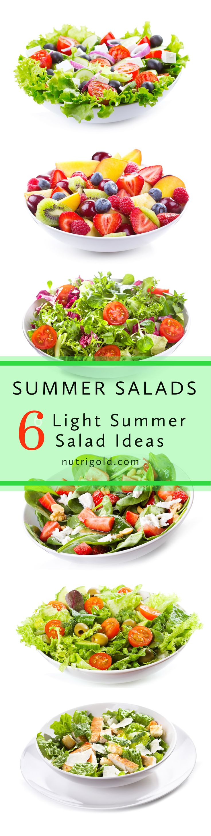 Six Summer Salads Welcome to summer! One of the best things about summer is the access to fresh, local, organic produce. And what better way to celebrate produce than a glorious salad. Here are six of our favorite summer salad recipes. Enjoy! http://www.nutrigold.com/blog/six-summer-salads/