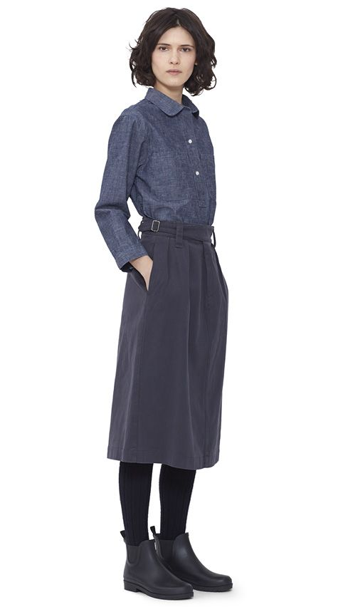 WOMEN AUTUMN WINTER 15 - Denim cotton Pocket Pull On Shirt MHL, granite cotton Cinched Waist Skirt MHL, navy Shetland wool Knee High Sock MHL, dark brown pvc Ankle Wellie MHL