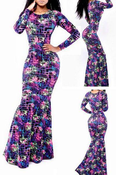 10010 Colorful Labyrinth Print Maxi Dress