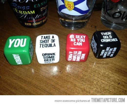 Dice drinking game… @Jennifer Roth Perfect for our next game round!