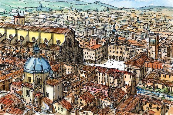 Impresión de Acuarela original de arte de Bolonia por AndreVoyy, $15.00