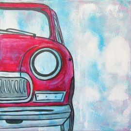 Stoer auto schilderij voor de jongens- en meidenkamer van een rode Mini Cooper. Het schilderij is handgeschilderd met acrylverf.