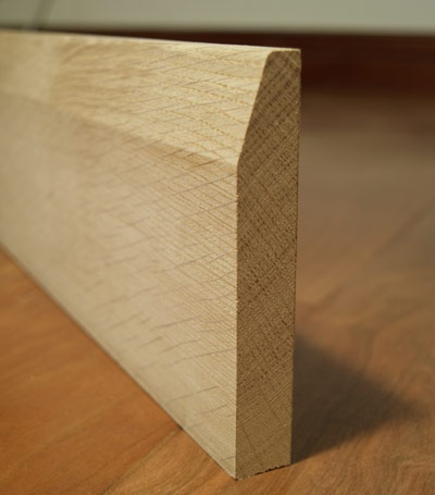 "Oak ""skirting"" (i.e. baseboard moldings)"