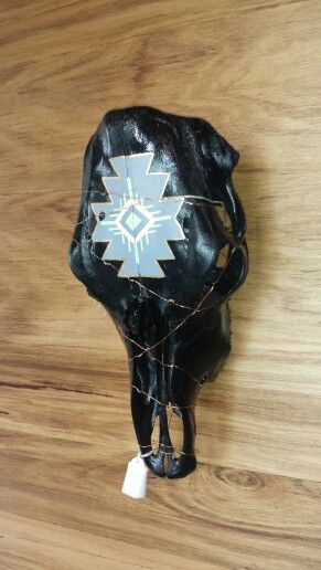 Hand painted Cow Skull... Stunning Aztec design going on here, love this colour pallet $160.00 @thingsofmetalandwood