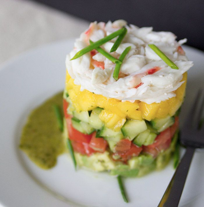Crab Stack Salad Recipe with Cilantro Lime Vinaigrette from the Nordstrom Bistro; photo by Jeff Powell.