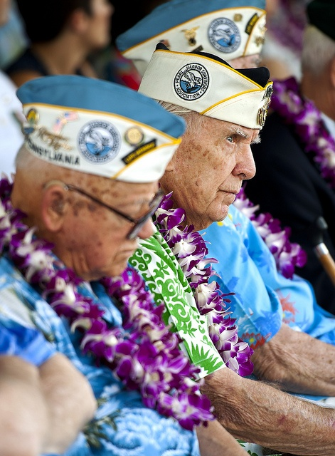 """121207-N-WF272-035 PEARL HARBOR (Dec. 7, 2012) Pearl Harbor survivors attend the 71st Anniversary Pearl Harbor Day Commemoration ceremony at the Pearl Harbor Visitor Center. More than 2000 guests attended the National Park Service and U.S. Navy-hosted joint memorial ceremony at the World War II Valor in the Pacific National Monument. This year's theme focused on """"Coming of Age – From Innocence to Valor."""" (U.S. Navy Photo by Mass Communication Specialist 3rd Class Diana Quinlan/Released)"""