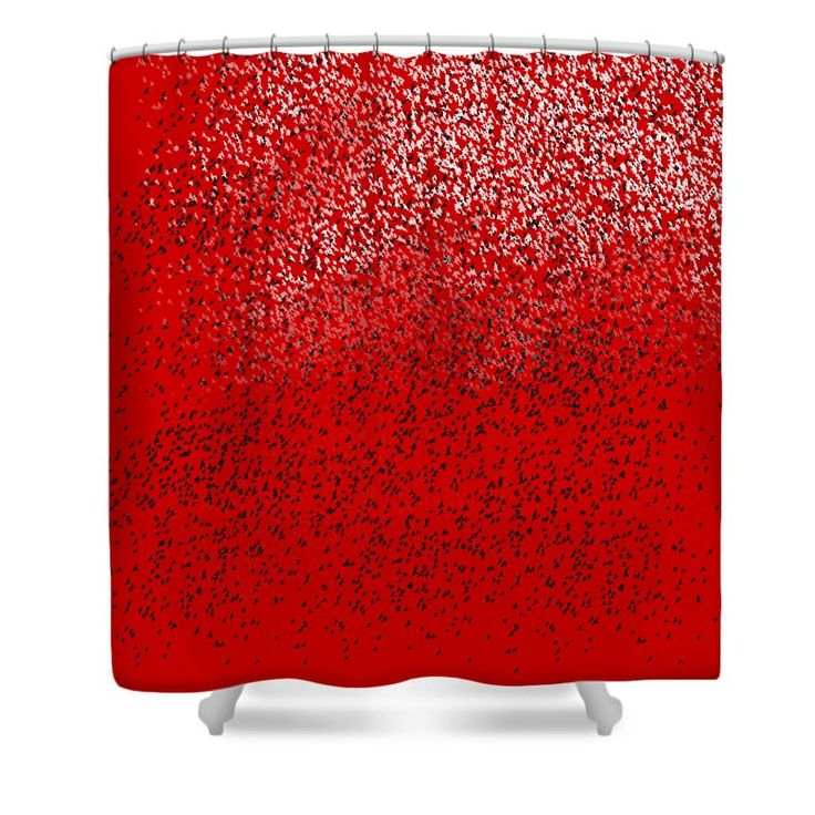 Cloud Of Birds Red Sky Shower Curtain by Sverre Andreas Fekjan.  This shower…