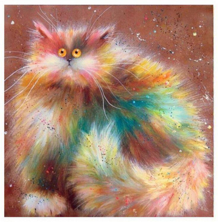 5d diy diamond painting cat mosaic animal pattern ...