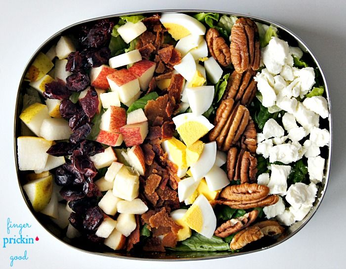 Harvest Cobb Salad {Romaine lettuce topped with diced pears, dried cranberries, diced apple, chopped bacon, hard-boiled egg chunks, halved pecans and crumbled goat cheese}