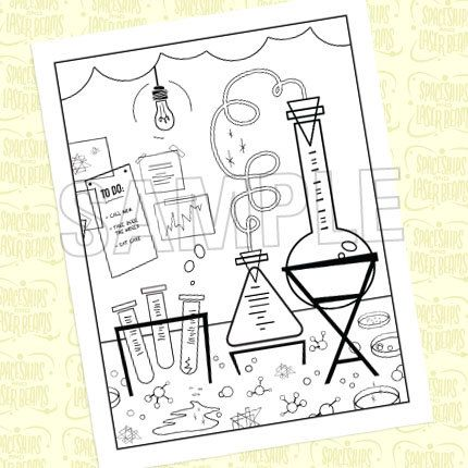 Mad Science Birthday Party Coloring Page by SpaceshipsLaserBeams, $4.75