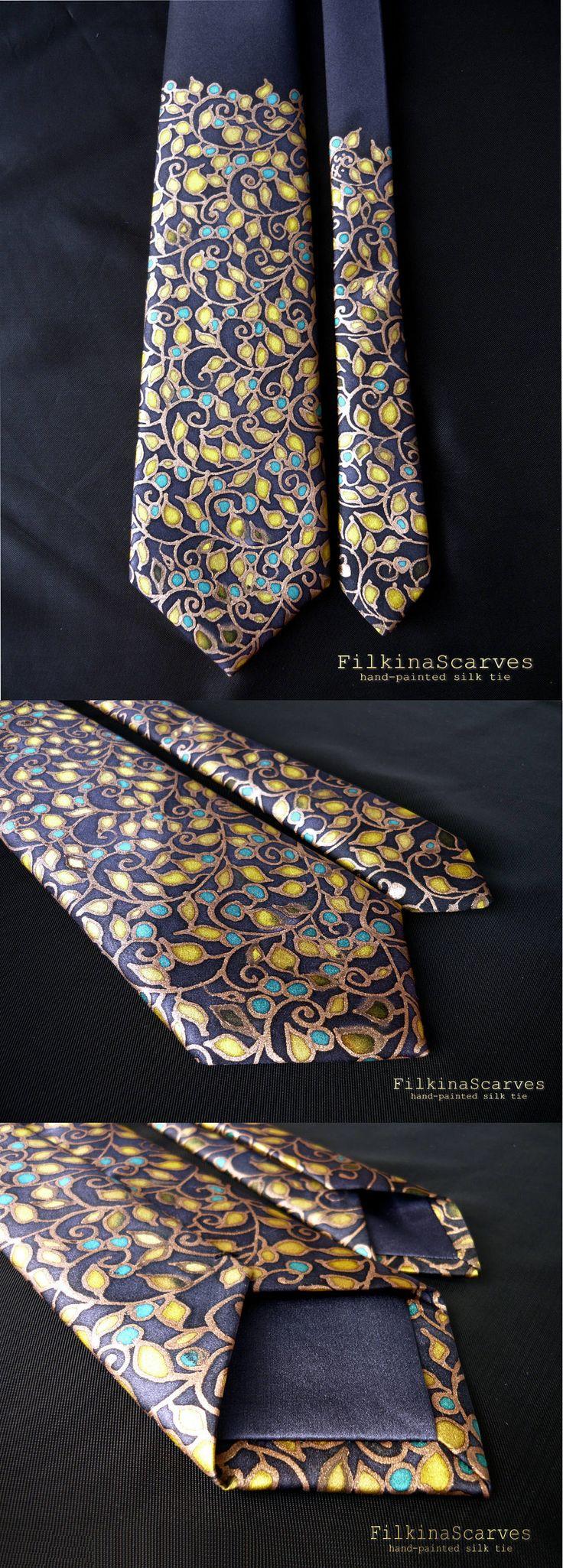 Mens tie Silk Necktie Hand Painted Navy Tie Mens Neckties Groomsman tie Silk Satin tie Mens Gifts Handpainted Tie Bisiness Wedding Tie FS 47 by FilkinaScarves on Etsy