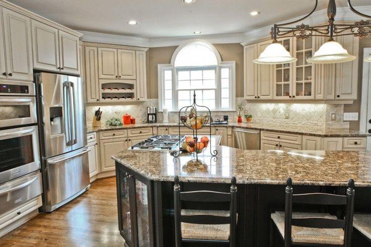 Antique-White-Kitchen-Cabinets-with-Granite