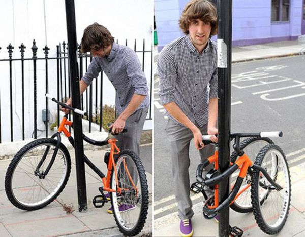 Kevin Scott just unveiled his revolutionary bendable bike. That's right, with the push of a lever the cycle becomes bike-Houdini and can wrap around any post making it easy to secure all its parts with just one lock.