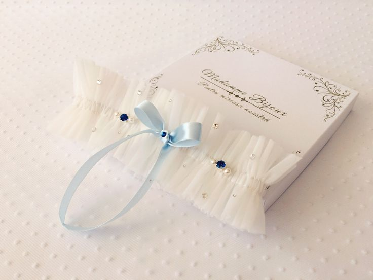 tulle garter with something blue; blue bow; blue crystals; something blue bridal; swarovski crystals