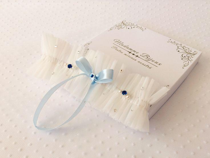 tulle garter with something blue; blue bow; blue crystals; something blue bridal; swarovski crystals