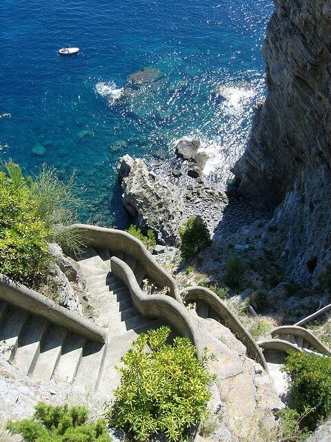 Stairs to the shore. Amalfi Coast