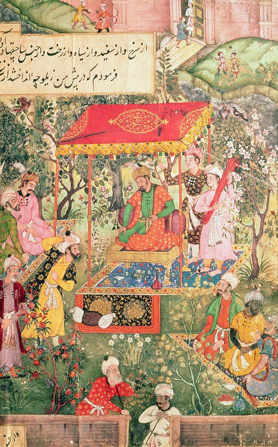 The Mogul Emperor Babur receives the envoys Uzbeg and Rauput in the garden at Agra on 18th December 1528, the emperor sits on a throne under a canopy; the fortifications of Agra are in the background, illustration to the Wariat-i-Barbari by Ram Das, c.1590 by Indian School (16th century)