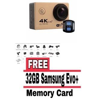 ซื้อเลย  Action Camera F60R 4K Wifi Action Camera Sport with remote -Gold(FREE 32GB SAMSUNG MMC) - intl  ราคาเพียง  2,701 บาท  เท่านั้น คุณสมบัติ มีดังนี้ Remote Shutter Control. convenient to take photo&video 4K 30fps. 2.7K 30fps. 1080P 60fps. 1080P 30fps. 720P120fps.720P 60fps. 720P 30fps Video Time-Lapsed Supported Slow Motion Video Supported Comes with a waterproof case. up to 30m waterproof 6G HD 170° degree wide angle lens Built-in WiFi for full camera control. live…