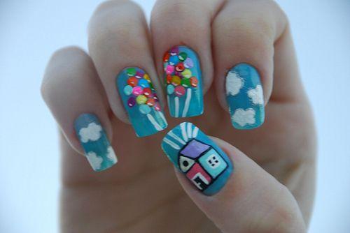 UP!: Nails Art, Nailart, Nails Design, Disney Nails, Nails Ideas, Nails Polish, Up Nails, Disney Up, Disney Movie