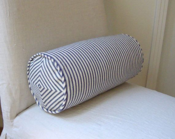 navy and off white ticking stripe inch neck roll pillow cover bolster pillow cover