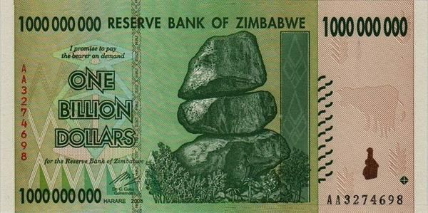 A 1 Billion Dollar Zimbabwe Bill.  This Zimbabwe Hyperinflated Currency was the result of an economic collapse that was due to many things going wrong which influenced the lack of confidence in the currency. The government was printing money to support their own goals. The use of the Zimbabwean dollar as an official currency was effectively abandoned on 12 April 2009, but it makes for a great collectible.