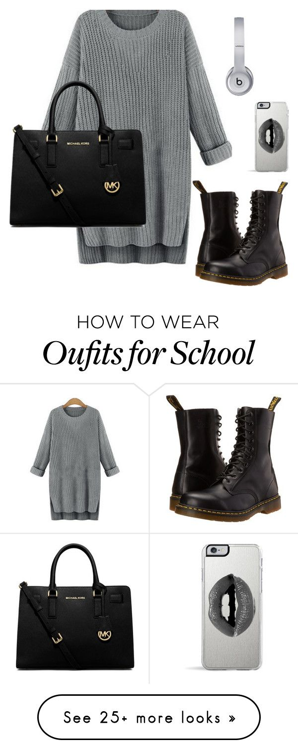 """school outfit (Thursday)"" by hopelessdreamer047 on Polyvore featuring Dr. Martens, MICHAEL Michael Kors, Lipsy and Beats by Dr. Dre"