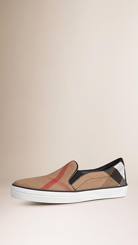 Black Check Slip-On Trainers - Image 1