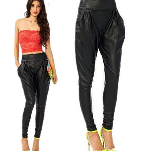Barato 2015 preto moda mulheres de slim paddy couro calça casual Harem Pants calças de couro falso macio mulheres calças compridas D198, Compro Qualidade Calças diretamente de fornecedores da China: