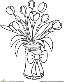 Tulip Bouquet Coloring Page