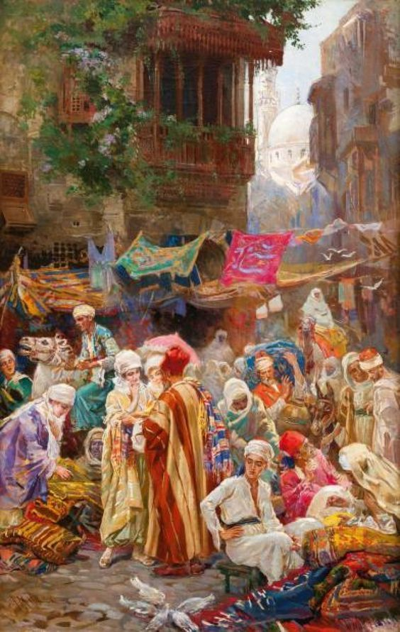 A very busy carpet souq.   Carpet dealers often visited the homes of the nobles and elites.  But the middle-class often came to the busy souqs   The Arab world - Medieval Islamic era.  Art  Amedeo Simonetti.