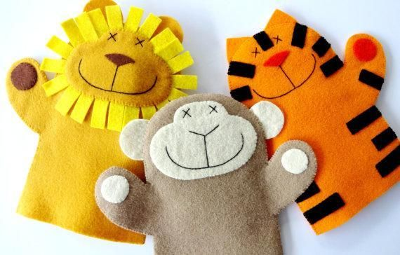 Looking for your next project? You're going to love Lion, Monkey, & Tiger Felt Hand Puppets by designer Precious Patts.