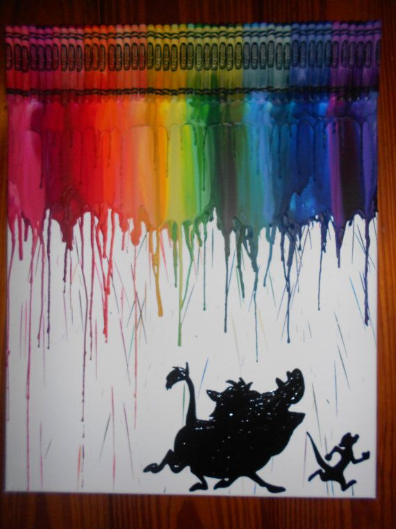 Lion Kings Timon & Pumbaa Melted Crayon Painting