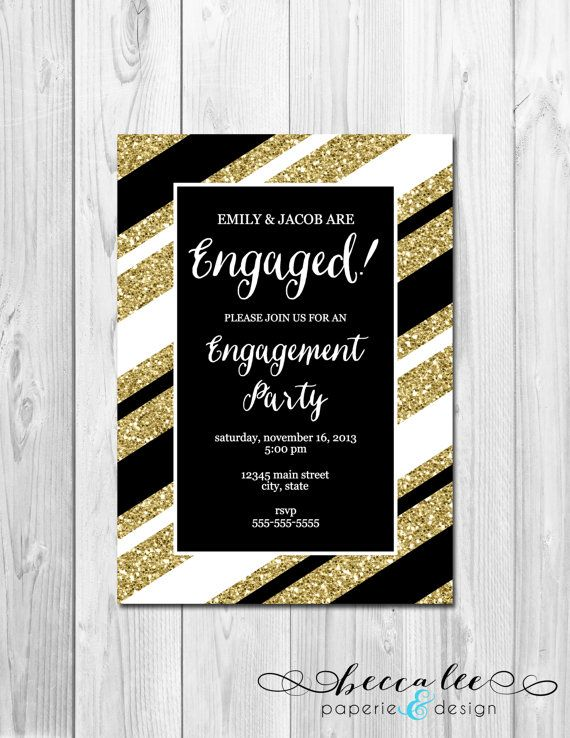 Engagement Party Invitation Black White and by BeccaLeePaperie, $13.00