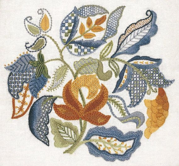 Crewel Embroidery Kit - JACOBEAN LEAVES                                                                                                                                                                                 Mais