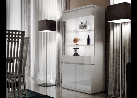 Italia, Modern Display Cabinet, White, Black Or Taupe With Lights By  Casabella