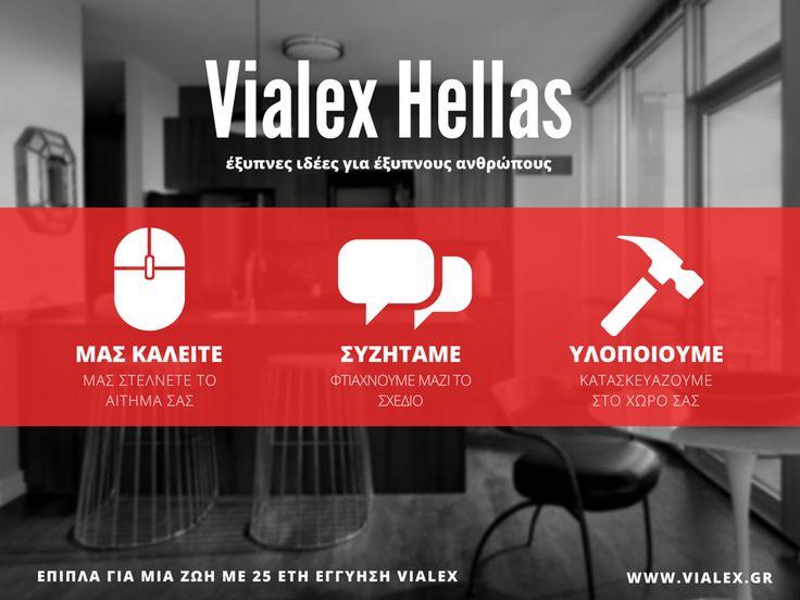 Στέλνετε το αίτημα σας, συζητάμε το έργο σας, κατασκευάζουμε στο χώρο σας. Αμεσα, υπεύθυνα και αποτελεσματικά. Για κατασκευή ή ανακαίνιση ντουλάπας υπνοδωματιών και επίπλων κουζίνας απλά καλέστε μας η στείλτε μας μήνυμα στο Facebook.  www.vialex.gr
