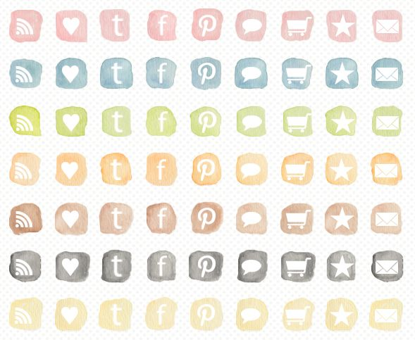 free watercolor social icons   #commercialuse