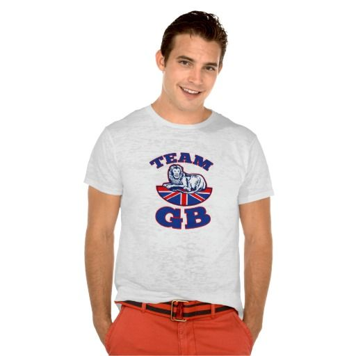 Team GB Lion sitting GB British union jack flag T Shirts. Rugby World Cup t-shirt with an illustration of a lion sitting on fours with British Great Britain union jack flag in background. #rwc #rwc2015 #rugbyworldcup #rugby #retro #illustration