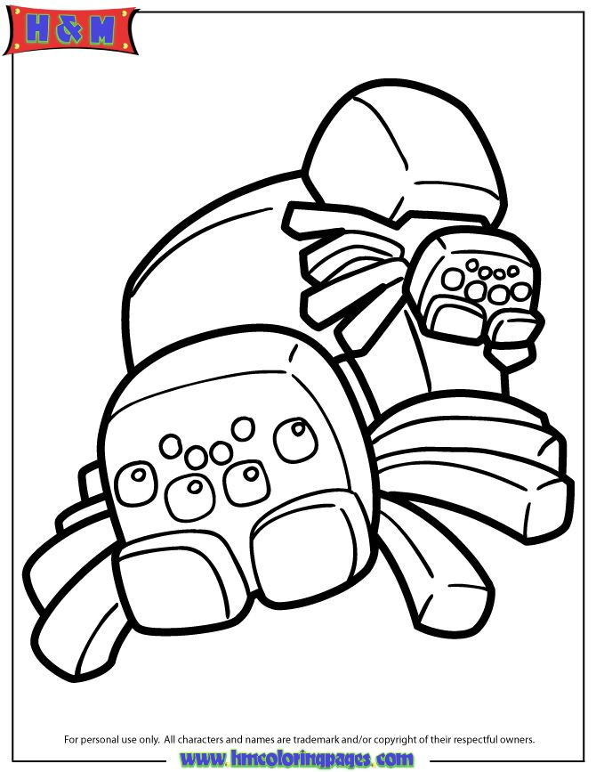 spiders from minecraft video game coloring page