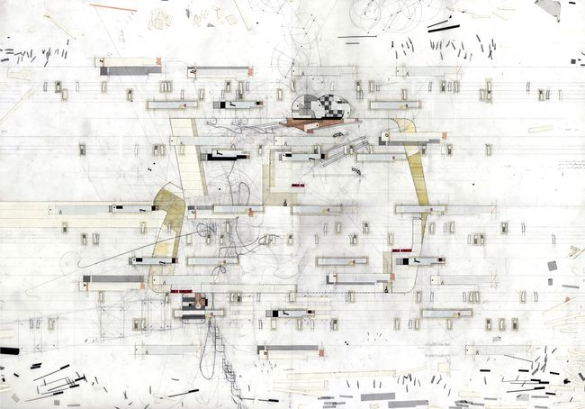 "'Bleached Out' Relational Drawing , v.02 Drawing made 2003 Drawing size 24"" x 36"" Materials: Mylar, graphite, tape, found imagery. transfer letters + trasnfer film, cut paper. © Perry Kulper"