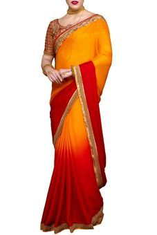 Orange Crepe Embroidered Saree by Stylee Lifestyle, Saree with Blouse Piece #saree #indianwear #ethnicwear #traditional #indianoutfit #fashion #indianfashion #sareewithblouses #ootd #potd #colorful #pretty #beautiful #glitstreet