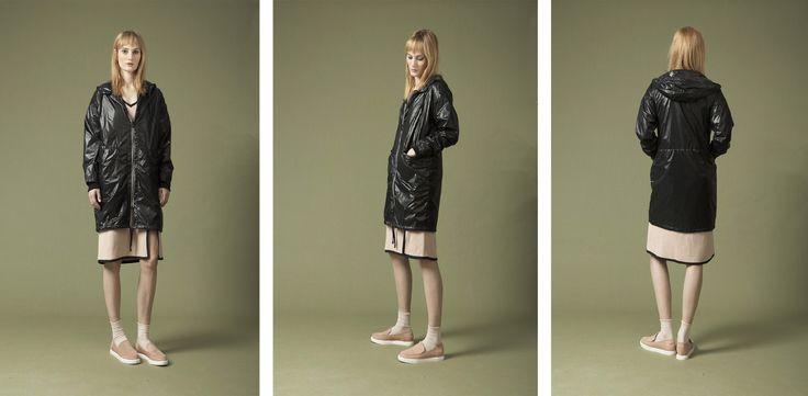 lasercut rain jacket , oversized t-shirt dress