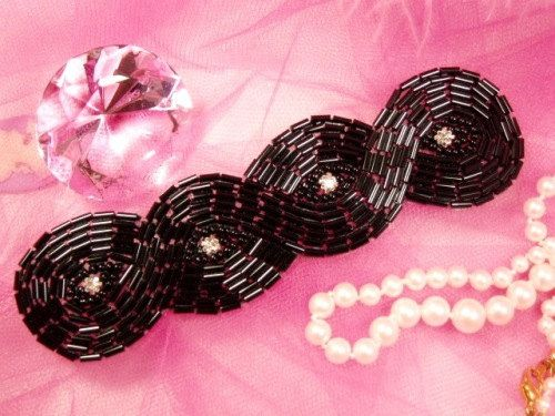 Black Braided Beaded Applique    Measures: 5 x 1-3/8    All Measurements are Approximate    If you would like to have this applique made into a Hair