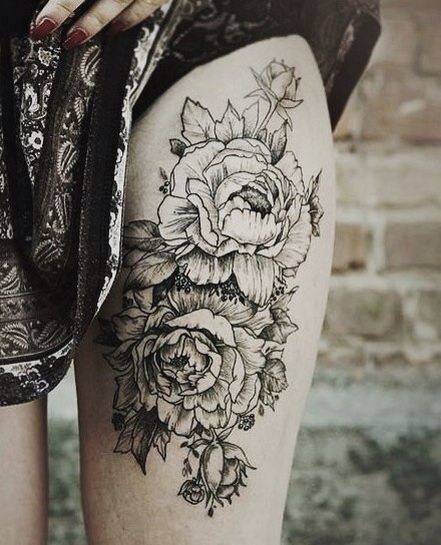Rose leg tattoo - flowers tattoo- floral tattoo - womens tattoos - girls tattoos - blackwork
