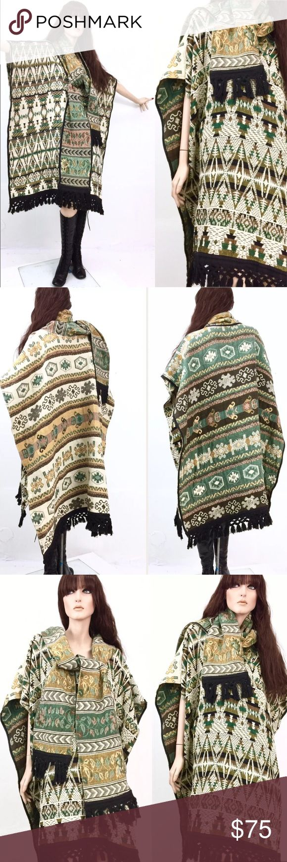 Vintage southwestern tapestry poncho Amazing condition! Totally one of a kind Jackets & Coats Capes