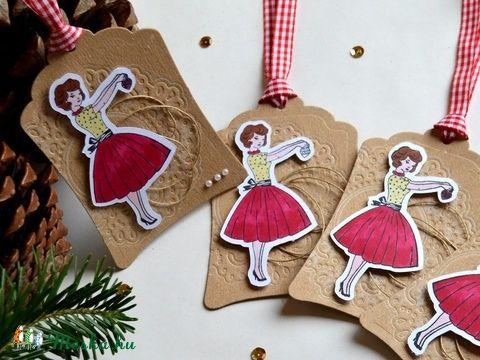 Ajándékkísérő karácsonyi vintázs vintage ajándék rusztikus nosztalgikus