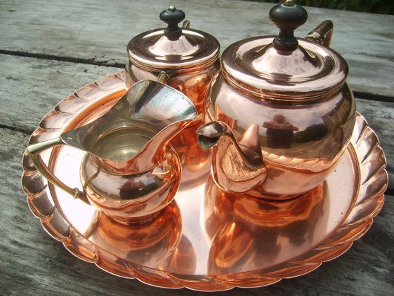 Vintage French Copper Tea Set with Tray  by NormandyCollectables, €32.00