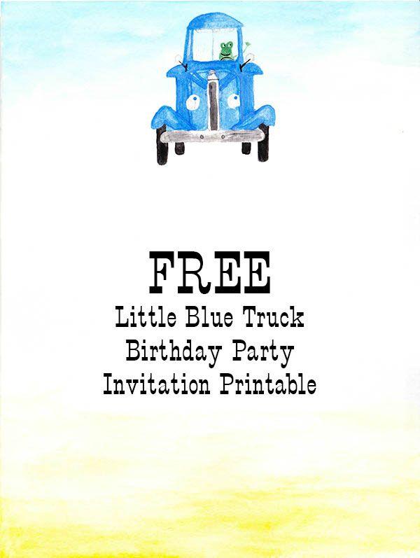 Little Blue Truck Birthday Invitation - Nearly Crafty